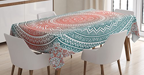 Ambesonne Teal and Coral Tablecloth, Ombre Mandala Art Antique Gypsy Stylized Folk Pattern Mystical Cosmos Image, Dining Room Kitchen Rectangular Table Cover, 60 W X 90 L Inches, Teal Coral]()
