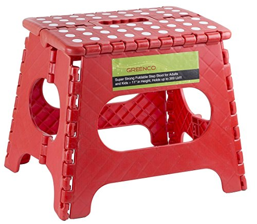 Greenco Super Strong Foldable Step Stool for Adults and Kids, 11″, Red