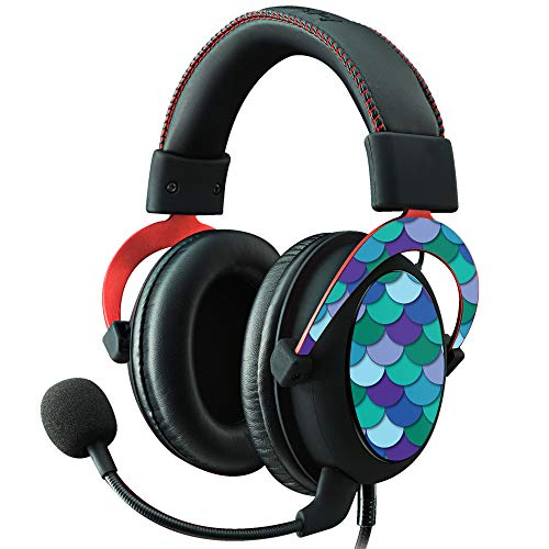 MightySkins Skin Compatible with Kingston HyperX Cloud II Gaming Headset - Blue Scales | Protective, Durable, and Unique Vinyl Decal wrap Cover | Easy to Apply, Remove | Made in The USA