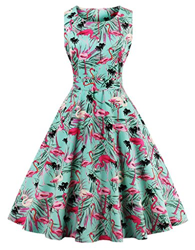 (FAIRY COUPLE 50s Vintage Retro Floral Cocktail Swing Party Dress with Bow DRT017(L, Flamingo Floral))