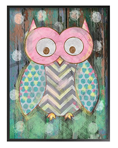 The Kids Room by Stupell Woodland Polka Dot Owl Oversized Framed Giclee Texturized Art - Dimensions: 16 x 1.5 x 20 inches Proudly Made in USA Oversized 1.5 inch thick Ebony Frame gives item instant Dimension - wall-art, living-room-decor, living-room - 51yQ2NsgA5L -