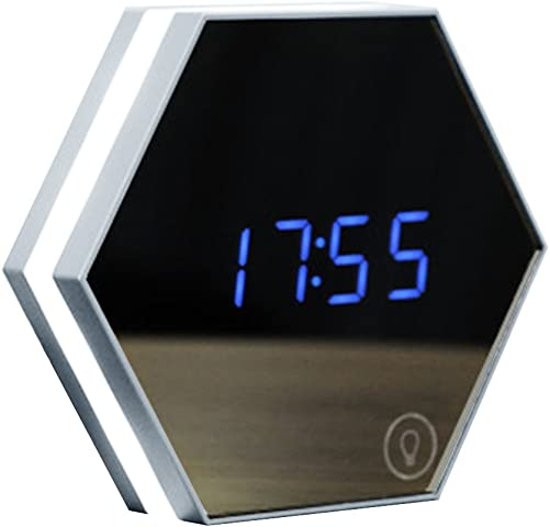 yHRgETLD Rechargeable Mirror Surface Alarm Clock LED Display with Dimmer Time Clock for Bedroom- Silver