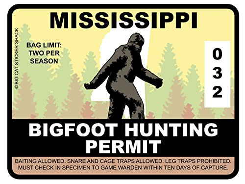 Bigfoot Hunting Permit - MISSISSIPPI (Bumper Sticker)