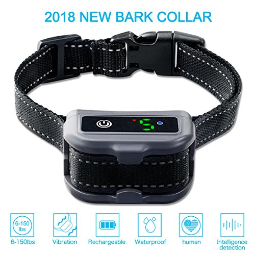 Siweite Rechargeable Dog Bark Collar Automatic Anti-Barking Collar Beep Vibrate Shock Mode Adjustable Dogs Collars for Small Medium Large Dogs Waterproof Bark Control Device by Siweite