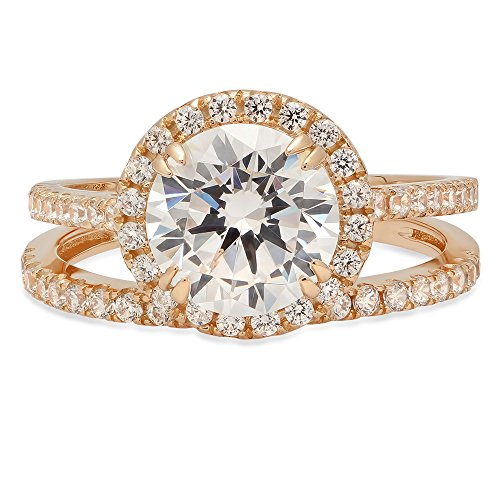 2.92 CT Round Cut Solitaire Pave Halo Bridal Engagement Wedding Anniversary Ring band set 14k Yellow Gold, Size 6 Clara (Tiffany Set 6 Prong)