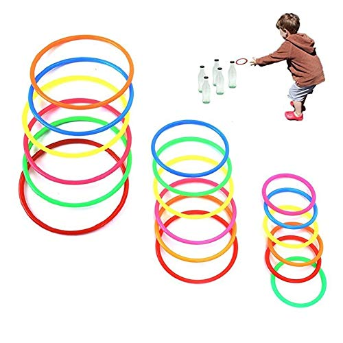 Koogel 18Pcs Multicolor Plastic Toss Rings Small/Medium/Large Size for Kids Ring Toss Game, Speed and Agility Training Games,Carnival Garden Backyard Outdoor Games,Bridal Shower Game,Game Booth -