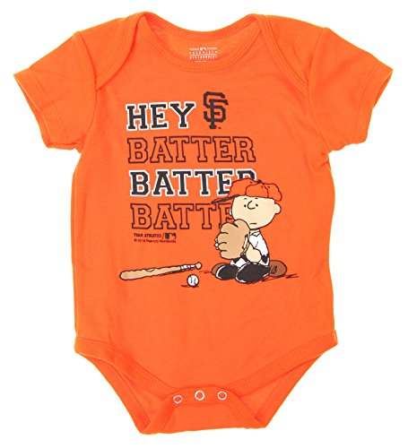 (Outerstuff MLB San Francisco Giants Baby Boys Infants Peanuts Love Baseball Creeper, Orange)