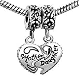 Pugster Mother & Daughter Heart Love Charms Dangle Bead Set For Pandora/Troll/Chamilia Charm Bracelet