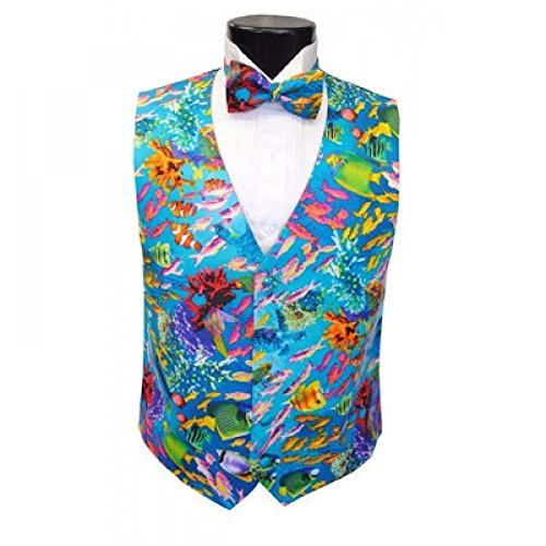 Tropical Coral Reef Tuxedo Vest and Bow Tie Size Xlarge