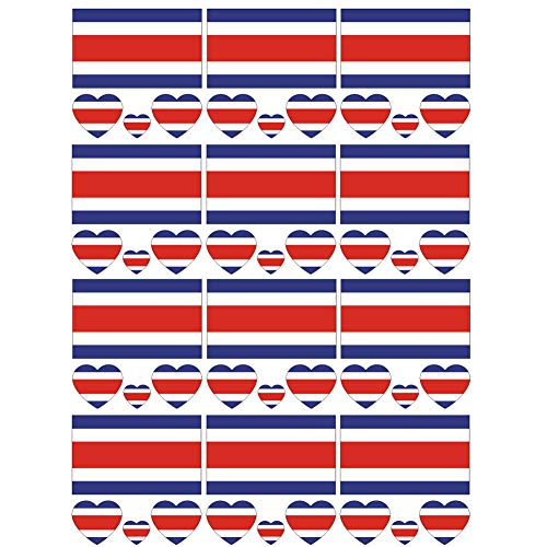 SpringPear 12x Temporary Tattoos of Costa Rica Flag for International Competitions Olympic Games World Cup Waterproof Flags Tattoo Sticker Fan Set (12 Pcs)