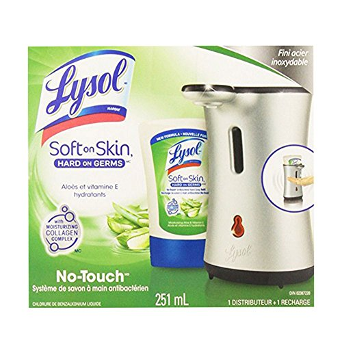 Lysol No-Touch Hand Soap System- Moisturizing Aloe & Vitamin E ( 1 Plastic Dispenser+1 Aloe Refill) 007856