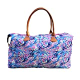 MONOBLANKS Lilly Inspired Print Weekender Bag,Canvas Leather Travel Totes Duffel Bag (Psychedelic Sunshine)