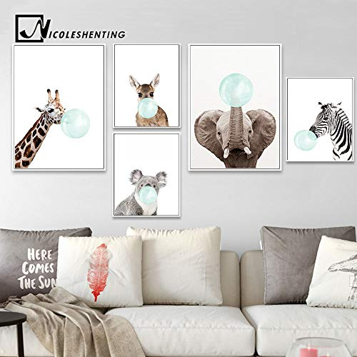 Amazon.com: Chitop Baby Animal Zebra Girafe Canvas Poster - Nursery Wall Art Print Painting Nordic Picture Children Bedroom Decoration (6) (30x40cm): ...