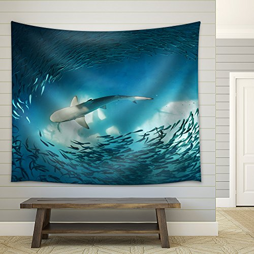 Shark and small fishes in ocean nature background Fabric Wall