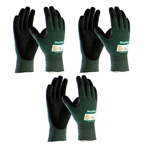 MaxiFlex Cut 34-8743 Cut Resistant Nitrile Coated Work Gloves with Green Knit Shell and Premium Nitrile Coated Micro-Foam Grip on Palm & Fingers. Sizes S-XL (Medium) by Maxiflex by Maxiflex (Image #1)