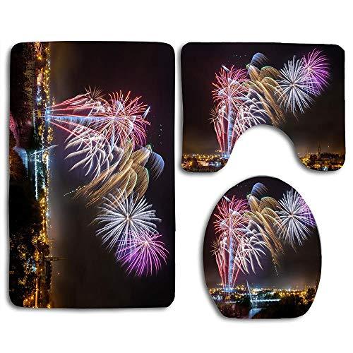 Strabane Halloween Fireworks Display 2017 Bathroom 3-Piece Mat Sets Pedestal Mat+Lid Toilet Cover+Bath Mat Doormat Non-Slip Rug, Decor Bath Rug Set for Women/Men/Kids -