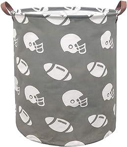BOOHIT Storage Baskets,Canvas Fabric Laundry Hamper-Collapsible Storage Bin with Handles,Toy Organizer Bin for Kid's Room,Office,Nursery Hamper, Home Decor (Footballs)