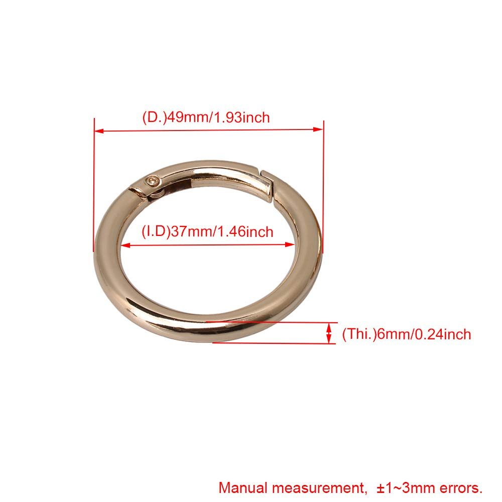 BQLZR 49mm OD 37mm ID Light Gold Zinc Alloy Spring Clip Round Carabiner Gate O Ring Round Carabiner Snap Clip Trigger Spring Keyring Buckle Pack of 5