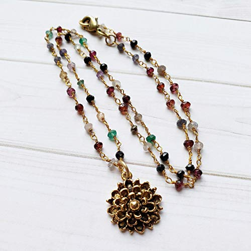 Gold Flower Necklace with Multi Color Gemstone Beaded Chain