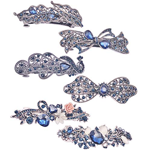 (Messen 6 Pack Crystal Rhinestones Hair Barrettes Flower Butterfly French Clip Vintage Spring Hair Clips Bridal Wedding Formal Event Navy Blue Hair Jewelry for Women Girls)
