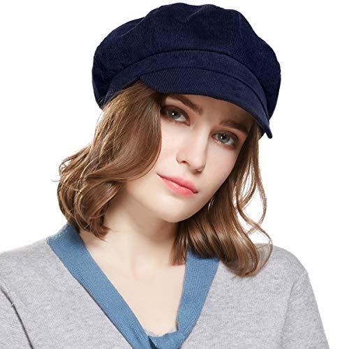Visor Beret Newsboy Hat Women - Corduroy Adjustable Winter Octagonal Cap for Ladies (Navy Blue)
