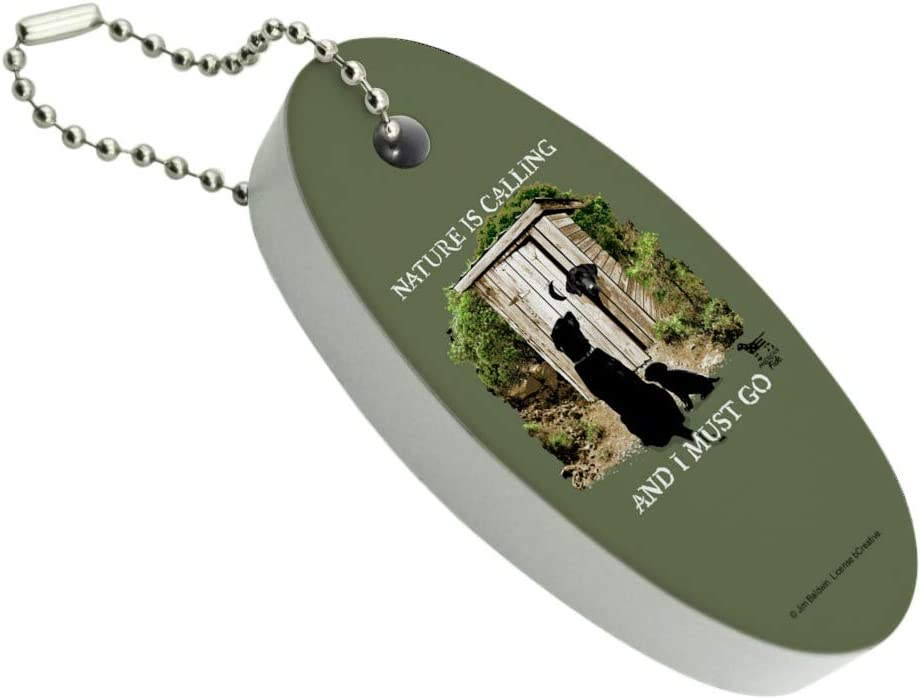 Nature is Calling and I Must Go Outhouse Labs Dogs Floating Keychain Oval Foam Fishing Boat Buoy Key Float