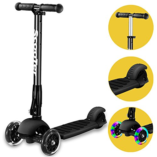 Scooter,Banne Height Adjustable Lean to Steer Flashing PU Wheels 3 Wheel Kick...