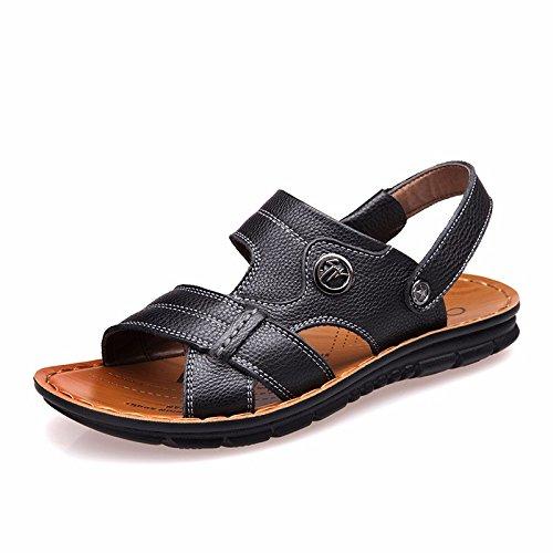 estate vera pelle sandali Uomini Spiaggia scarpa Uomini sandali Uomini scarpa traspirante Tempo libero scarpa Uomini tendenza ,neroF,US=8.5,UK=8,EU=42,CN=43
