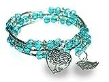 Tree of Life Heart and Bird Charm Sparkling Blue Triple Wrap Silvertone Bangle Bracelet