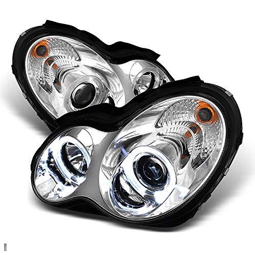 ACANII - For [Halogen Model] 2001-2007 Mercedes-Benz W203 C230 C240 C320 LED Halo Chrome Projector Headlights Headlamps