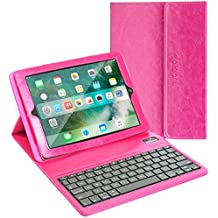 iPad Keyboard + Leather Case, Alpatronix KX100 Bluetooth iPad Keyboard Case with Removable Wireless Keyboard, Folio Protection & Built-in Tablet Stand for iPad 4, 3, 2, 1 [iOS 10+ Support] - (Pink)