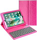 iPad Mini Keyboard + Leather Case, Alpatronix KX101 Bluetooth iPad Mini Keyboard Smart Case w/Removable Wireless Keyboard, Folio Protection & Built-in Tablet Stand for iPad Mini 4, 3, 2, 1 - Pink