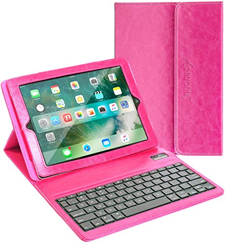 Alpatronix KX100 Portable PU Leather Folio Keyboard Case with Removable Bluetooth Wireless Magnetic Keyboard, Built-in Tablet Stand & Protection Compatible with iPad 4, 3 & 2 [iOS 12+] - Pink