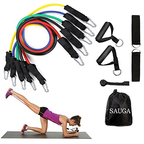 Resistance Band Set With Handles Include 5 Adjustable Exercise Bands, Door Anchor, Ankle Straps for Resistance Training, Physical Therapy, Home Workouts with Carrying Bag by SAUGA
