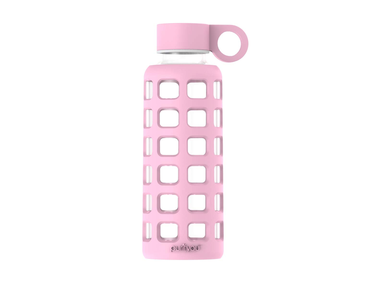 purifyou Premium Glass Water Bottle with Silicone Sleeve & Stainless Steel Lid Insert, 12/22 / 32 oz (Misty Rose, 12 oz)