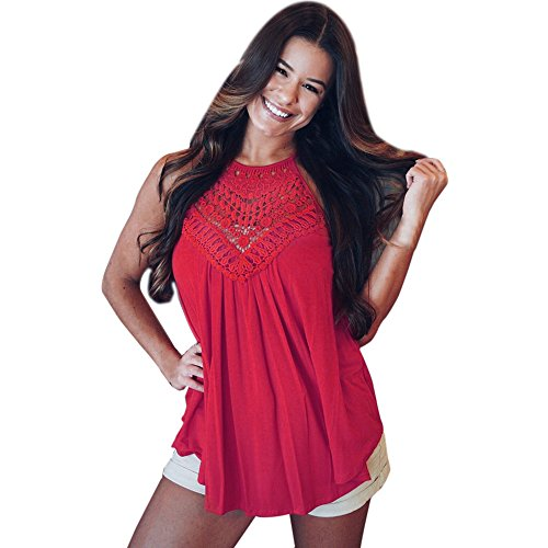 【MOHOLL】 Womens Sleeveless Floral Crochet Tunic Summer Halter Lace Swing Shirts Tank Tops Red