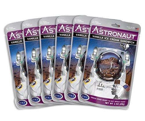 Astronaut Foods Freeze-Dried Ice Cream Sandwich, NASA Space Dessert, Vanilla, 6 Count (Best Ice Cream Sandwich)
