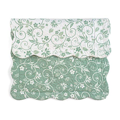 Collections Etc Floral Scroll Two-Tone with Scalloped