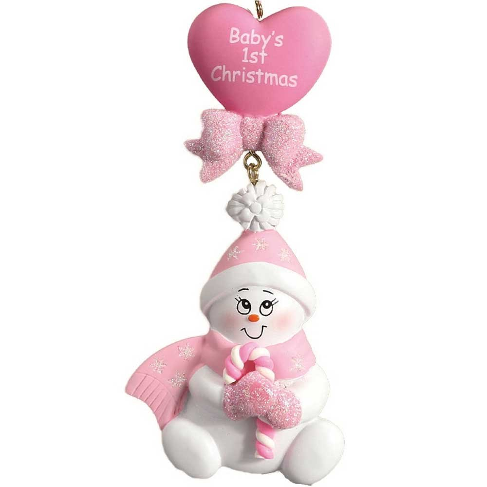 Personalized Candy-Cane Baby's 1st Christmas Ornament for Tree 2018 - Cute Snowman in Pink Glitter Hat Mittens Heart - Girl's New Mom Shower Granddaughter - Free Customization by Elves (Pink)