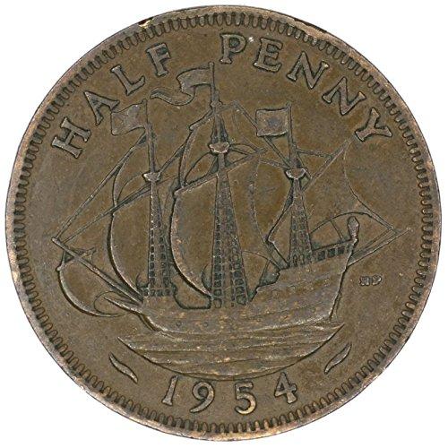 1954 UK Great Britain Elizabeth II Bronze Halfpenny Good