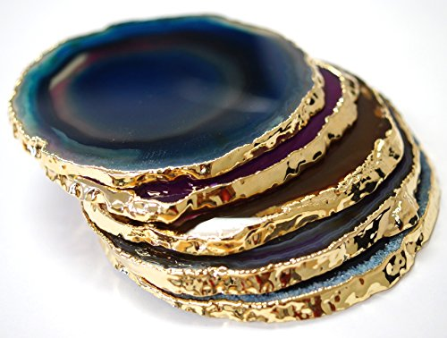 JIC Gem Golden Plated Dyed Mixed Color Agate Coasters 3-4'' set of 5 pcs Blue, Teal, Natural, Pink, Purple, with Rubber Bumper by JIC Gem (Image #2)