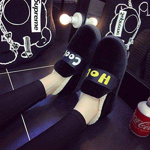 Fankou inverno caldo giovane maschio e femmina cartoon borsa con ispessimento alla fine della bella anti-slittamento home indoor cotone pantofole, 36/37 (per 34-35), 5-41 nero