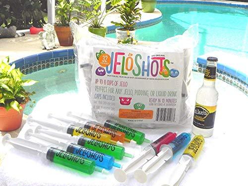 Jello Shot Syringes 32-Pack, Medium (up to 2oz), The Original JeloShots Gelatin Jello Shot Syringes with Easy-Grip Caps, Reusable by The Original JeloShots (Image #3)