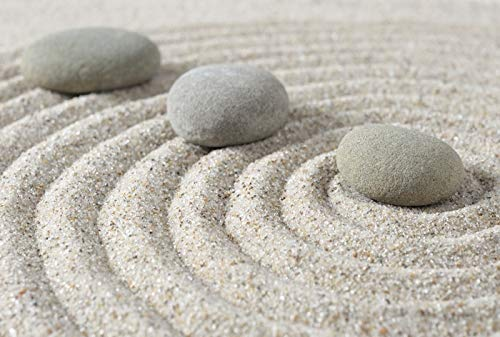 Stepping Zen Stones on a Sand Photography A-93663 (9x12 Art Print, Wall Decor Travel Poster)