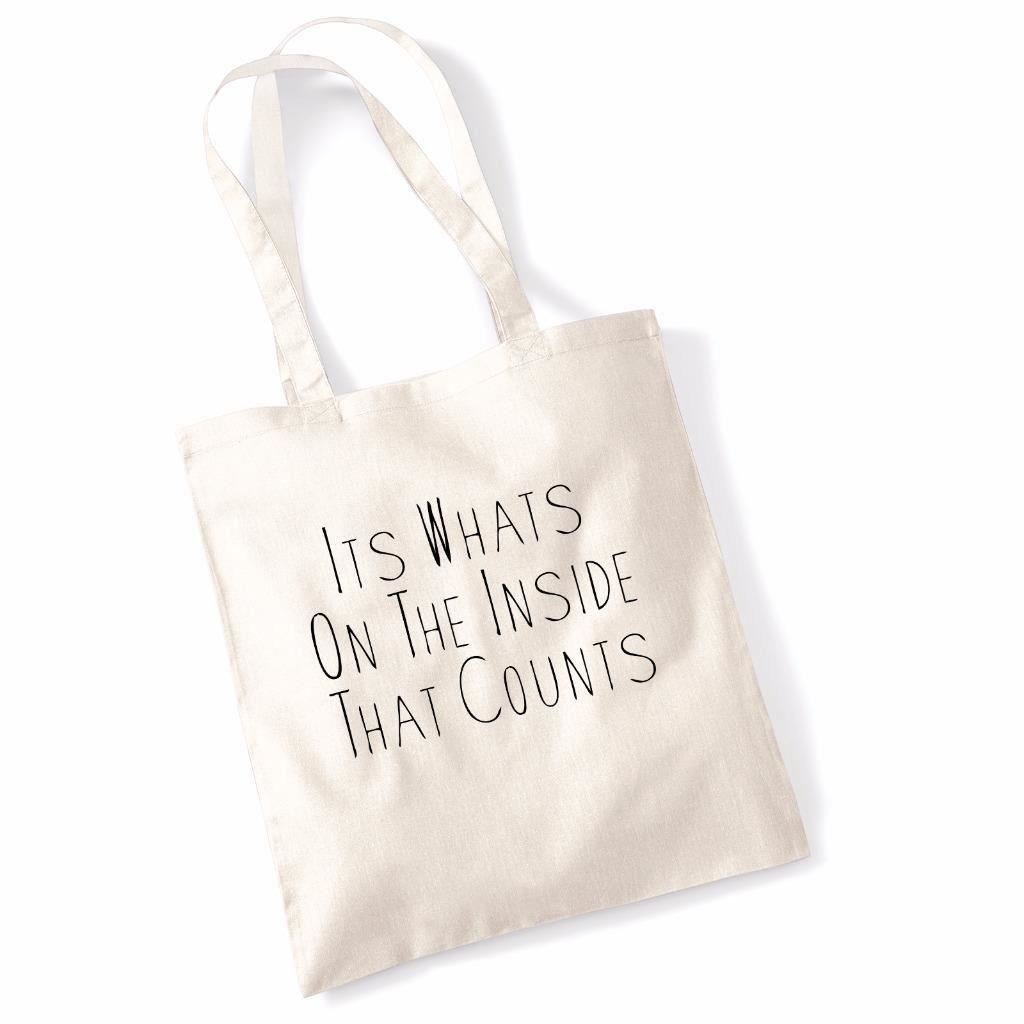Funny Tote BagsIts Whats On The Inside Canvas Shoulder Shopper Bag