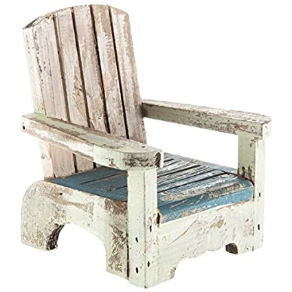 Incredible Amazon Com Small Blue White Rustic Wood Beach Chair Decor Dailytribune Chair Design For Home Dailytribuneorg