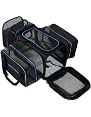 "YOUTHINK Expandable Pet Carrier Airline Approved, Soft Sided Pet Travel Carrier for Puppy and Cats, Car Carrier with Fleece Pad (18"" x 11""x 10"", up to 20 lbs)"
