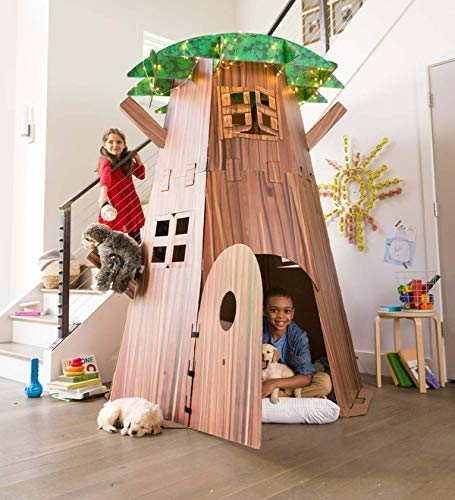 Big Tree Fort Building Kit for Kids - Heavy Duty Cardboard Construction - Indoor Playroom or Classroom - Play Space for Multiple Children - Approx. 7 H x 58 diam. by HearthSong® (Image #1)