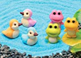 Iwako Japanese Erasers, Frogs and Ducks 6pcs, Colors may vary