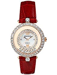 Red Genuine Leather Watch with Crystals in Rose Gold Plated Stainless Steel (128942)